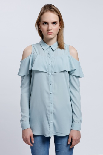 Cold Shoulder Shirt with Button Placket