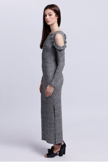Long Sleeves Dress with Cold Shoulders