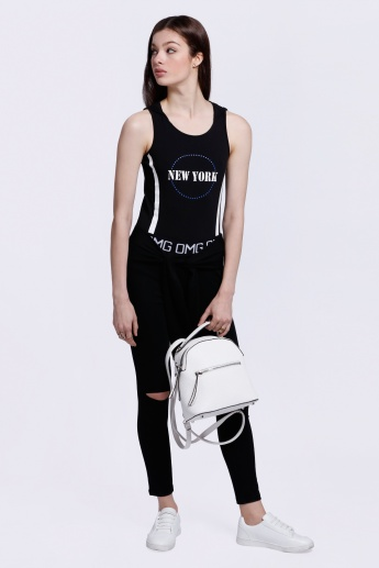 Sleeveless T-Shirt with Text Print