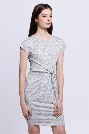Melange Twist-front Dress with Short Sleeves