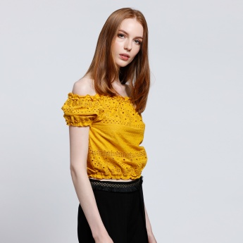 Off Shoulder Top with Elasticised Hem
