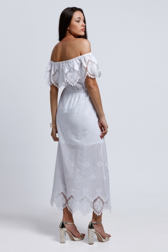 Embroidered Off Shoulder Maxi Dress