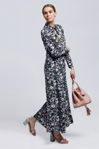 Printed Shirt Dress with Long Sleeves