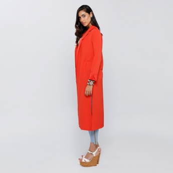 Longline Open Front Jacket with Notch Collar and Long Sleeves