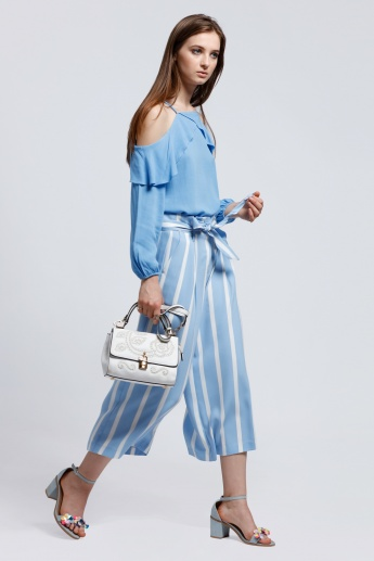 Striped Culotte Pants with Pocket Detail and Tie up