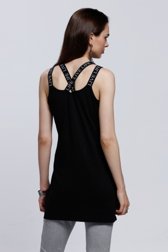 Sleeveless Round Neck Top with Side Slits