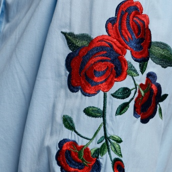 Embroidered Shirt with Complete Placket and 3/4 Sleeves