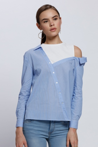Striped Shirt with Slant Off Shoulder and Inner Top