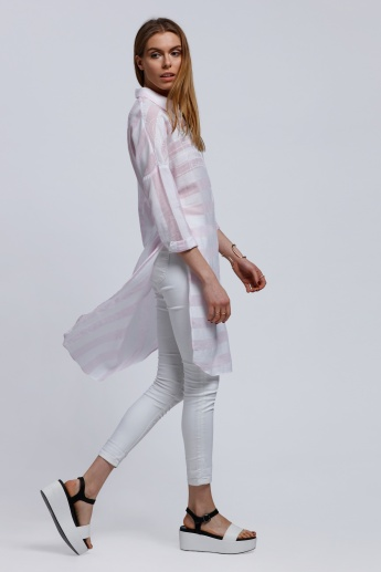Striped Long Shirt with Long Sleeves