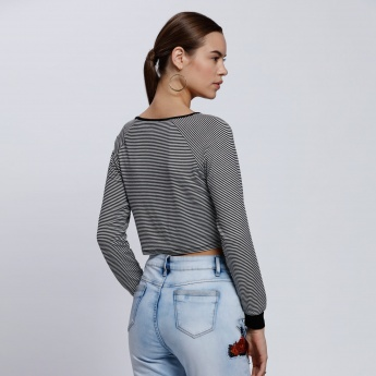 Striped Cropped Top with Long Sleeves