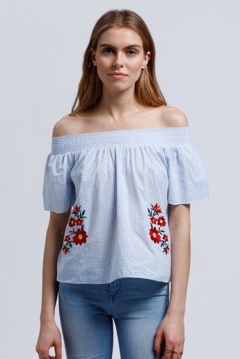 Printed Off Shoulder Top with Embroidery