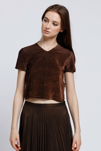 V-Neck Crop Top with Short Sleeves