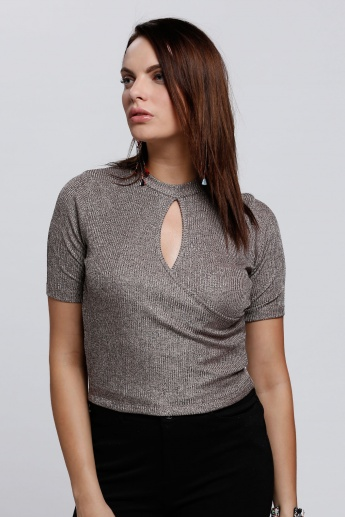 Textured Top with Short Sleeves