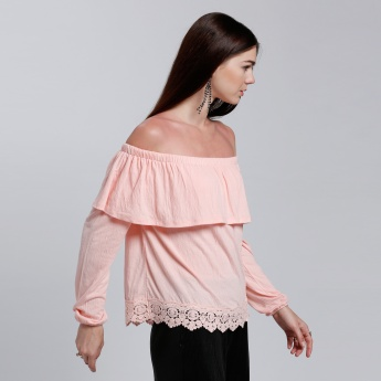 Off Shoulder Top with Lace Hem