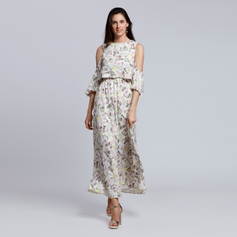 Printed Cold Shoulders Maxi Dress