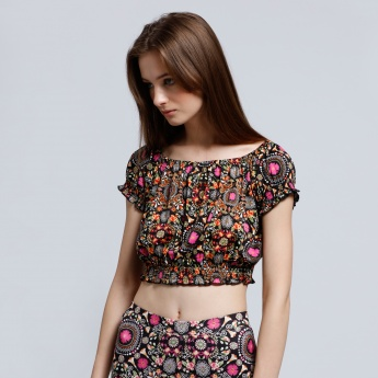 Printed Crop Top with Elasticised Hem