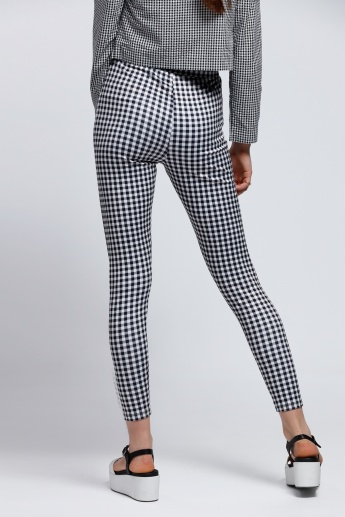 Chequered Leggings with Elasticised Waistband