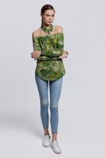 Printed Off Shoulder Top with Long Sleeves and Elasticised Cuffs