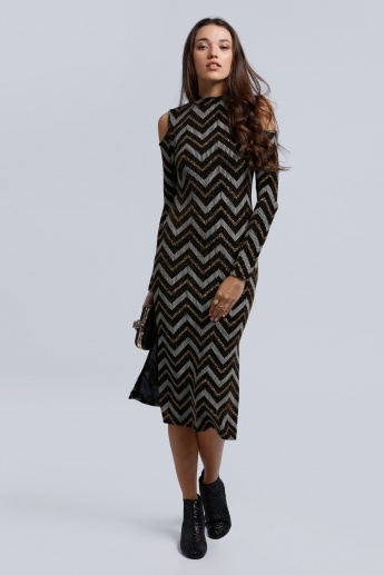 Textured Dress with Cold Shoulder and Slits