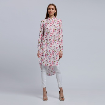Printed Long Sleeves Tunic with High Low Hem