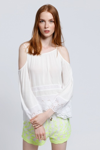 Embroidered Cold Shoulder Top in Regular Fit