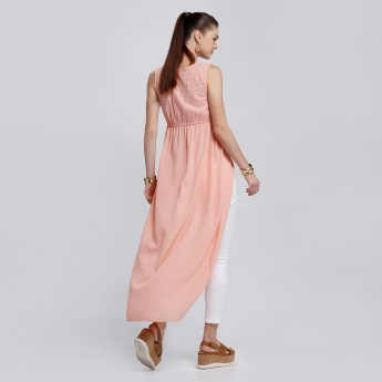 Sleeveless Long Tunic with V-Neck