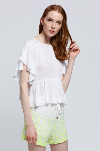 Round Neck Top with Short Sleeves in Regular Fit