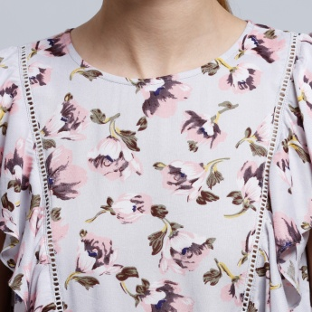 Printed Top with Round Neck and Keyhole Closure