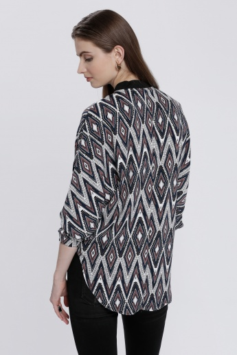 High-Low Hem Top with Zippered Placket