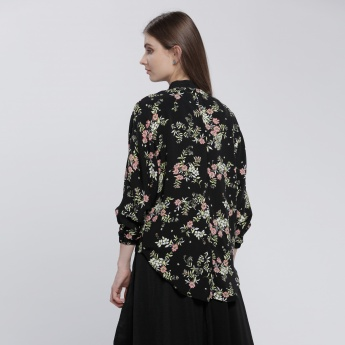 Printed Jacket with Zip Closure and Long Sleeves