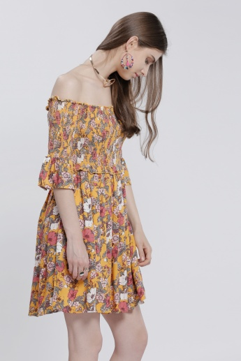 Printed Off Shoulder Dress with Bell Sleeves