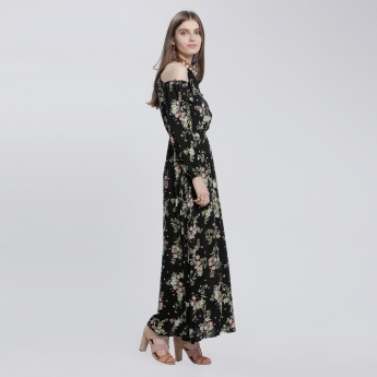 Printed Maxi Dress with Choker Neck and Cold Shoulders