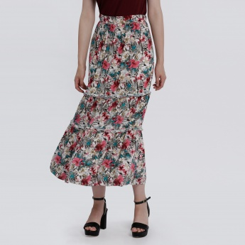 Printed Frilled Skirt with Elasticised Waistband