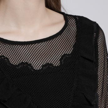 Round Neck Mesh Top with Long Sleeves