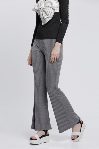 Ribbed Full Length Flared Pants