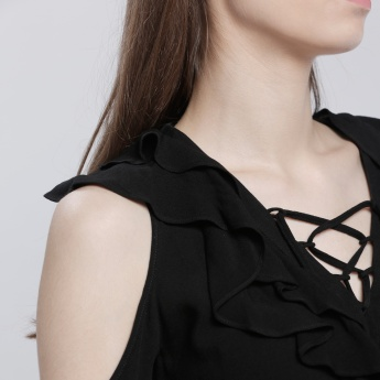 Ruffle Top with Tie Up and Cold Shoulders