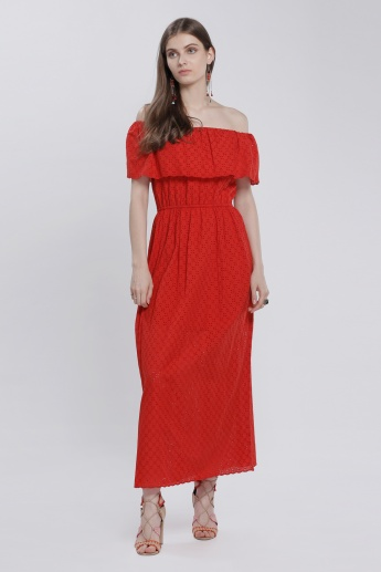 Schiffli Off Shoulder Maxi Dress