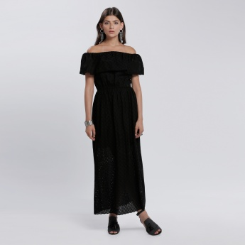 Off Shoulder Layered Schiffli Dress