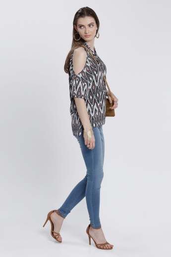 Printed Cold Shoulder Top with Tie Up Neck and High-Low Hem