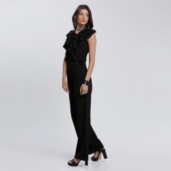 Tie Up Detail Ruffle Jumpsuit