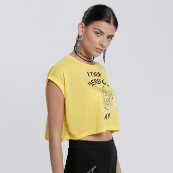 Printed Crop T-Shirt with Cap Sleeves and Round Neck