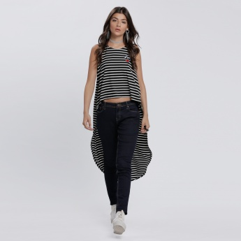 Striped Sleeveless T-Shirt with High-Low Hem