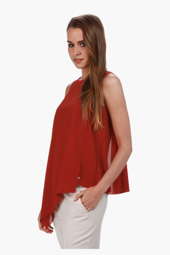 Elle Asymmetrical Top with Round Neck and Double Layer