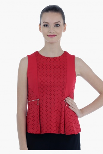 Elle Bonded Peplum Sleeveless Top with Boat Neck