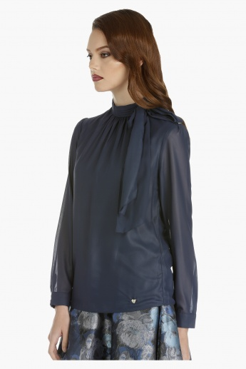 Elle Long Sleeves Top with High Neck