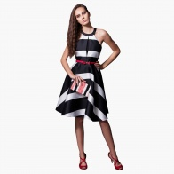 Elle Flare Print Dress with Halter Neck and Stripes in Regular Fit