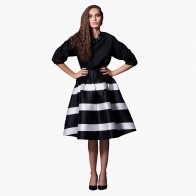 Elle Full Midi Skirt with Pleats and Stripes in Regular Fit