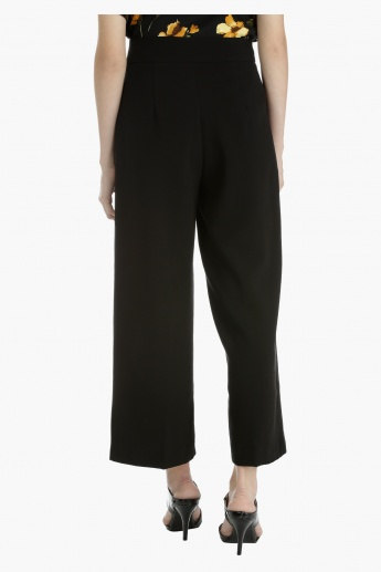 Elle Solid Culottes with Zip Detailing