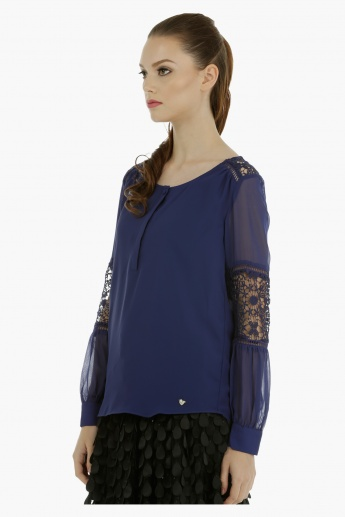 Elle Long Sleeves Top with Lace Detailing