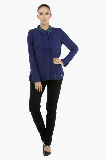 Elle Long Sleeves Shirt with Embroidered Collar